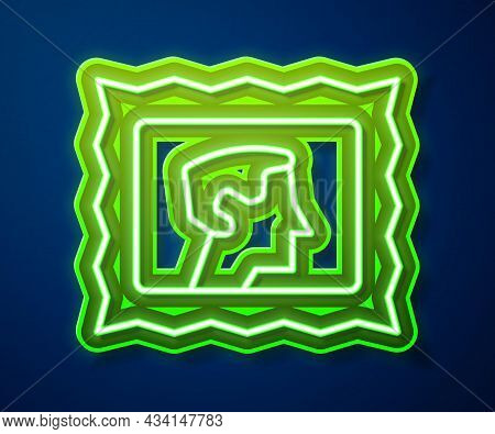 Glowing Neon Line Postal Stamp Icon Isolated On Blue Background. Vector