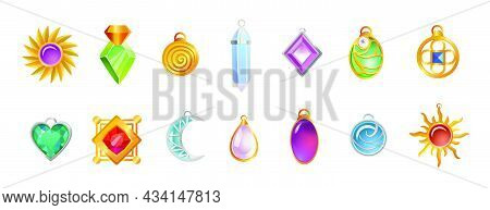 Magical Amulets Of Different Shapes Vector Illustrations Set. Gemstone Necklace Pendants For Witch O