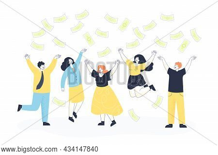 Money Falling On Happy Business People Flat Vector Illustration. Successful Team Of Male And Female
