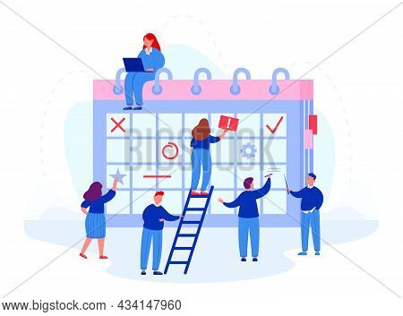 Team Of Office Workers Planning Business On Giant Calendar. Flat Vector Illustration. Men And Women
