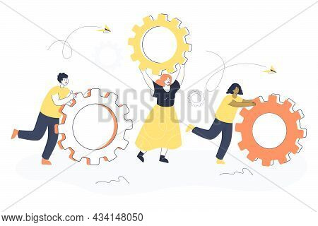 Tiny People Moving Giant Gears. Flat Vector Illustration. Business Team With Cogwheels, Symbol Of Re