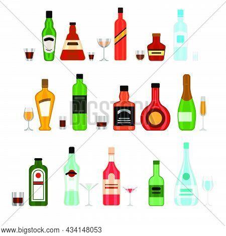 Various Alcohol Bottles With Glasses Cartoon Illustration Set. Liquor, Wine, Beer, Soda, Whiskey, Ru