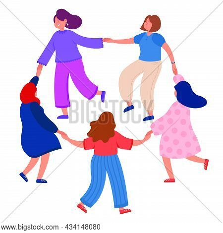 Women Leading Round Dance On White Background. Flat Vector Illustration. Girls With Different Colors