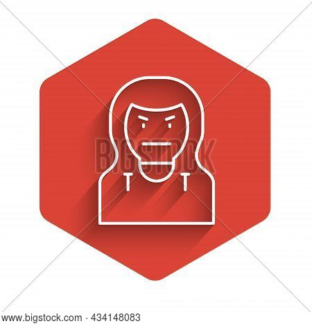 White Line Thief Mask Icon Isolated With Long Shadow. Bandit Mask, Criminal Man. Red Hexagon Button.