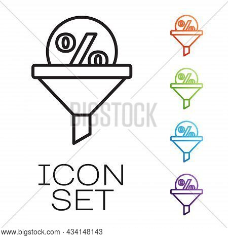 Black Line Lead Management Icon Isolated On White Background. Funnel With Discount Percent. Target C