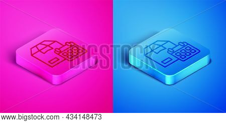 Isometric Line Carton Cardboard Box And Fast Time Delivery Icon Isolated On Pink And Blue Background