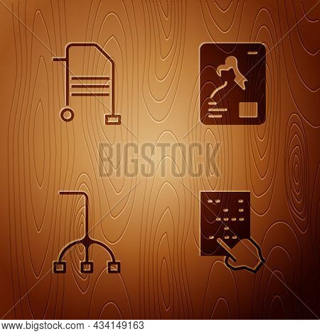 Set Braille, Walker, Walking Stick Cane And X-ray Shots On Wooden Background. Vector