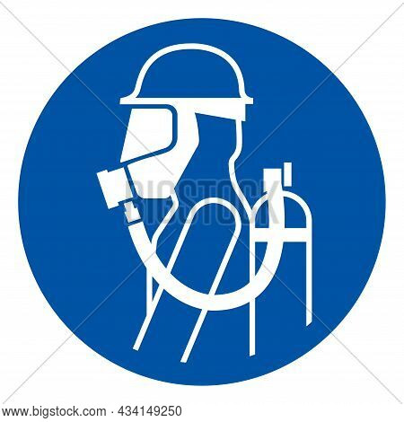 Wear Breathing Apparatus Must Be Worn In This Area Symbol Sign,vector Illustration, Isolated On Whit