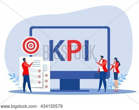 Business People Analyst Kpi Organization With Key Performance Indicator Word Lettering Typography Ve