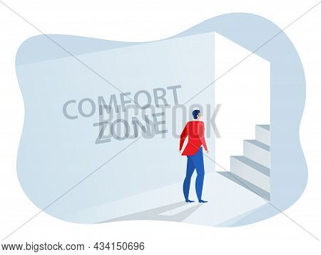 Businessman Standing Goes Out Of Comfort Circle For New Success. Comfort Zone Concept Vector Illustr