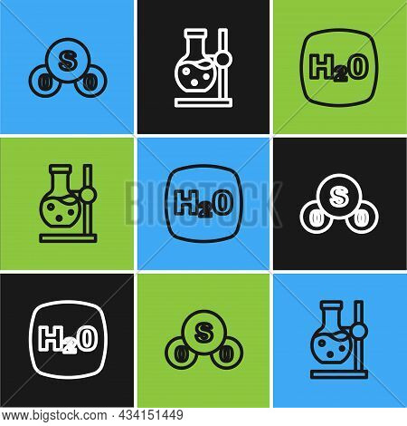 Set Line Sulfur Dioxide So2, Chemical Formula H2o And Test Tube Flask On Stand Icon. Vector