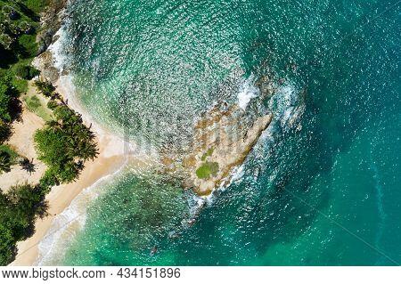 Aerial Top View Drone Camera Top Down Of Seashore Rocks In Phuket Ocean Sea Waves On Beautiful Seasc