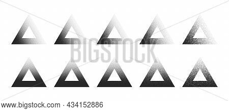 Stippled Triangle Frame Hand Drawn Dotwork Vector Abstract Shapes Set In Different Variations Isolat