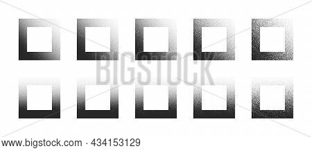 Dotwork Hand Drawn Stippled Square Frames Vector Abstract Shapes Set In Different Variations Isolate