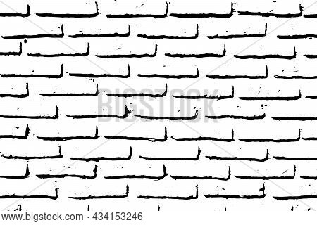Grunge Black Texture As Brick Wall Shape On White Background (vector). Use For Decoration, Aging Or