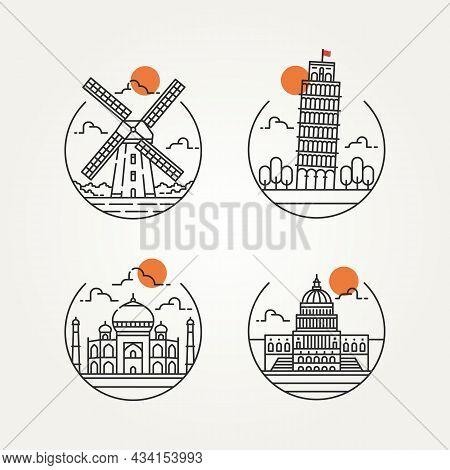Set Of World Travel Landmark Minimalist Line Art Icon Logo Vector Illustration Design. Simple Modern