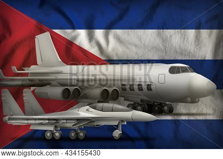 Air Forces On The Cuba Flag Background. Cuba Air Forces Concept. 3d Illustration