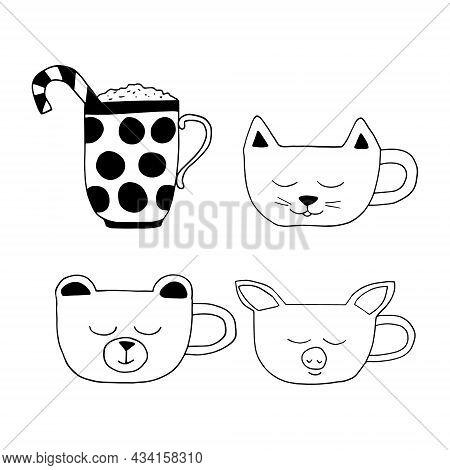 Cute Cups Set Hand Drawn Doodle. Vector, Minimalism. Hot Drink, Cocoa, Coffee, Tea Sticker Icon Menu