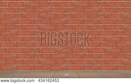 Empty Room Space Of Red Brick Wall And Wooden Floor. Interior Space For Design Idea And Decoration.