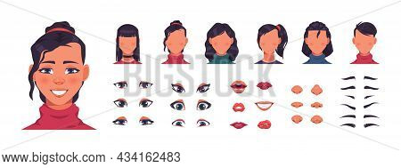 Woman Face Constructor. Female Character Avatar Kit With Hair And Facial Shapes. Eyes With Eyebrows,