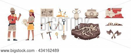 Cartoon Paleontology. Ancient Fossil With Bones And Treasures. Archaeologists Dig Up Artifacts. Expl