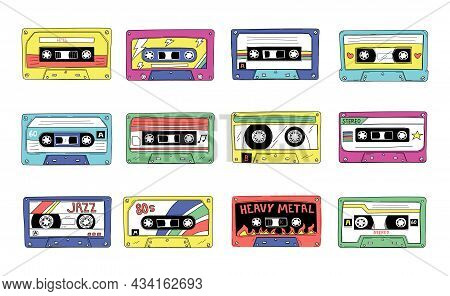 Retro Cassette. 90s Audio Tape Of Rock And Pop Songs Mix. Vintage Compact Stereo Player. Jazz Musica
