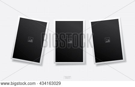 Empty Photo Frame Background On White. Vector.