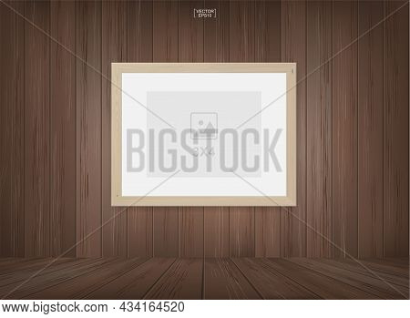 Empty Photo Frame Or Picture Frame Background In Wooden Room Space Background. For Room Design And I