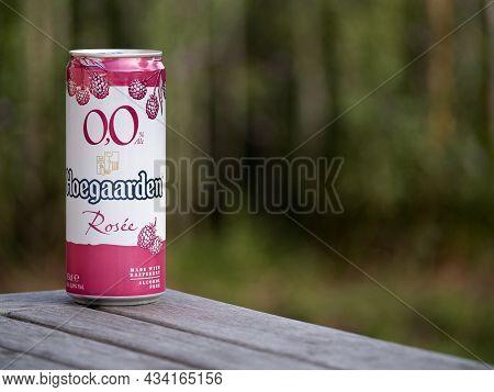 Hoegaarden, Belgium, September 25, 2021, The Beer Brand Hoegaarden Rosée With 0.0 Percent Alcohol, A
