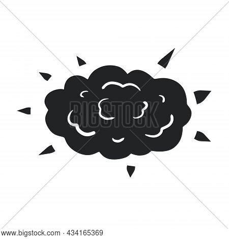 Black Silhouette Of Explosion. Boom And Cloud. Cartoon Illustration