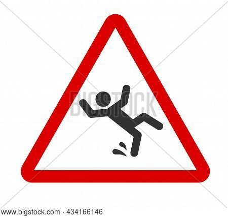 Caution Wet Floor Sign. A Man Falling Down Icon In Red Triangle. Slippery Floor. A Sign Warning Of D