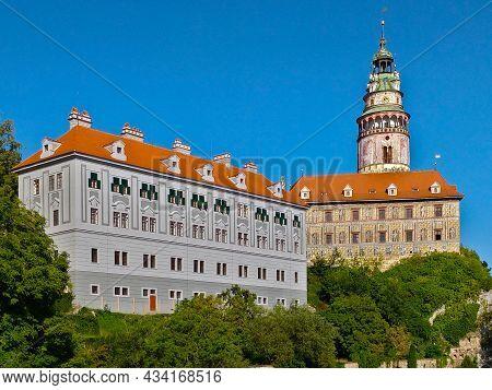 Cesky Krumlov, Czech Republic - September 4, 2021: Krumlov Castle With Iconic Tower Rebuilt In Renai