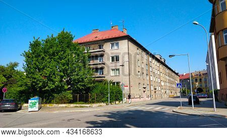 Ceske Budejovice, Czech Republic - September 5, 2021: Long Old Style Apartment Buildingin Street Clo