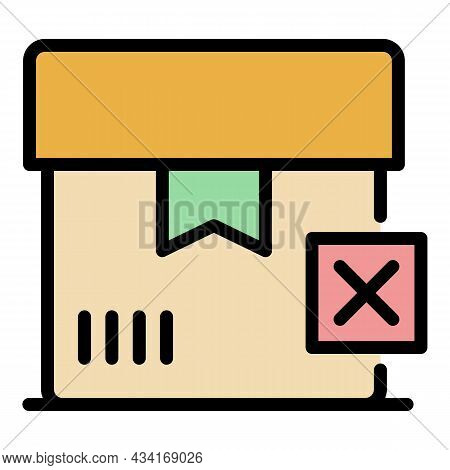 Canceled Box Icon. Outline Canceled Box Vector Icon Color Flat Isolated