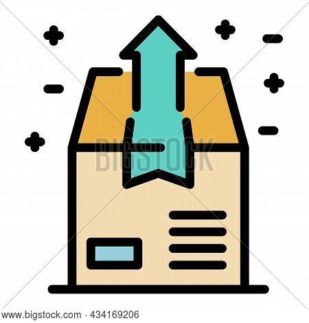Send Box Icon. Outline Send Box Vector Icon Color Flat Isolated