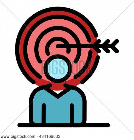 Personal Target Goal Icon. Outline Personal Target Goal Vector Icon Color Flat Isolated