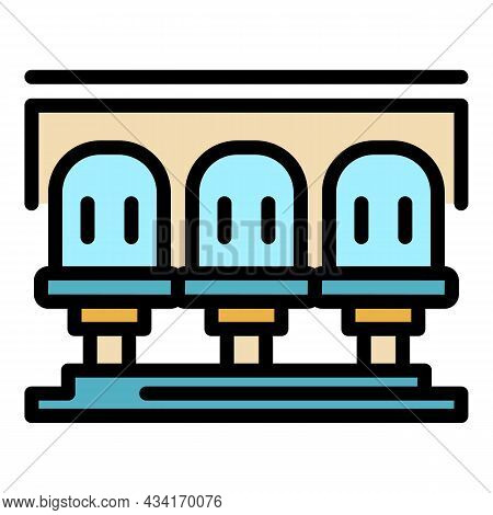 Train Station Icon. Outline Train Station Vector Icon Color Flat Isolated
