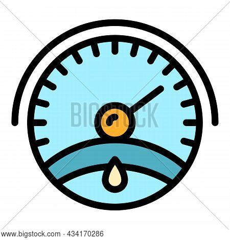 Motor Oil Gauge Icon. Outline Motor Oil Gauge Vector Icon Color Flat Isolated