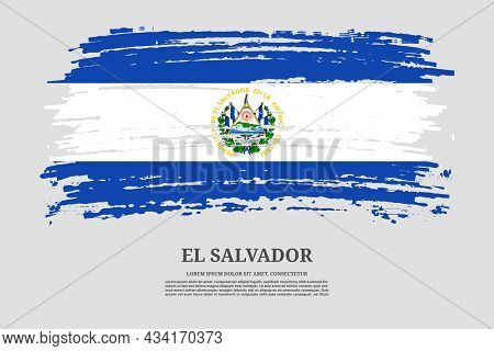 El Salvador Flag With Brush Stroke Effect And Information Text Poster, Vector