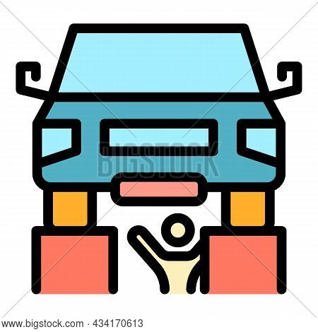Auto Mechanic Fix Car Icon. Outline Auto Mechanic Fix Car Vector Icon Color Flat Isolated