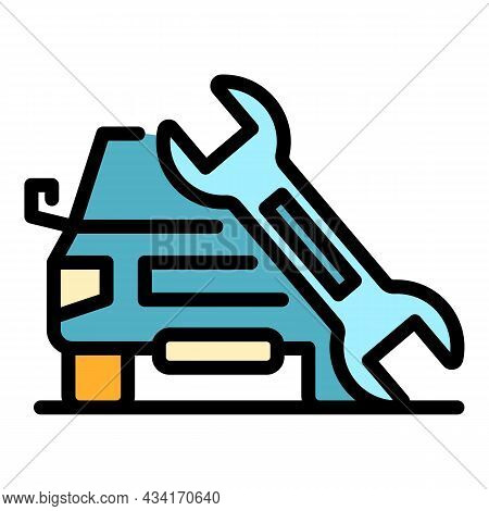 Car Fix Key Icon. Outline Car Fix Key Vector Icon Color Flat Isolated