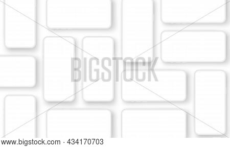 White Clay Smartphones With Blank Screens For App Design Presentation. Vector Illustration