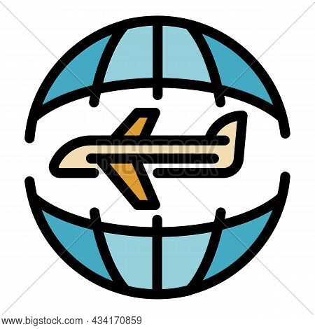 Global Fly Tourism Icon. Outline Global Fly Tourism Vector Icon Color Flat Isolated