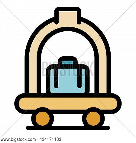 Hotel Luggage Cart Icon. Outline Hotel Luggage Cart Vector Icon Color Flat Isolated