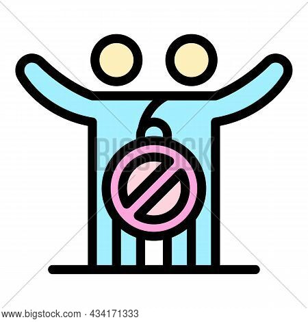 No Hugs Icon. Outline No Hugs Vector Icon Color Flat Isolated