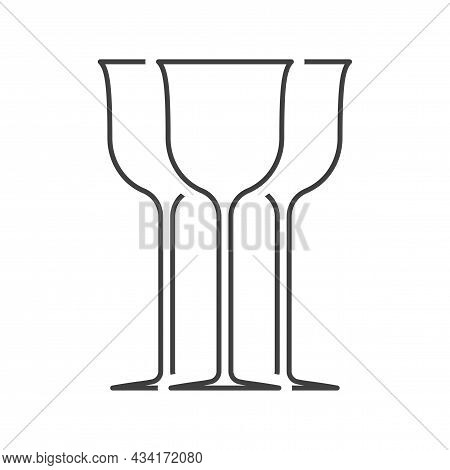 Three Wine Glasses Icon. Silhouettes Of The Central Glass And Two Others From The Back. Isolated Lin