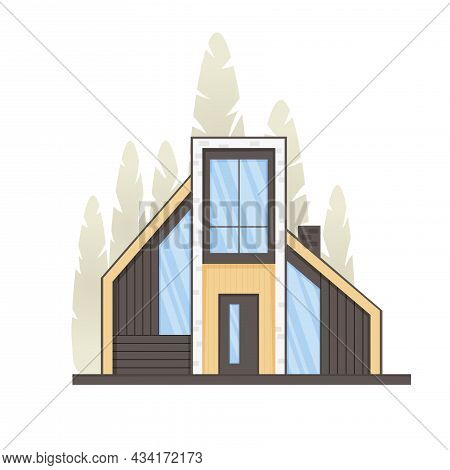 Forest House, Cottage, Townhouse In Minimalistic Style With Panoramic Windows. Real Estate Concept,