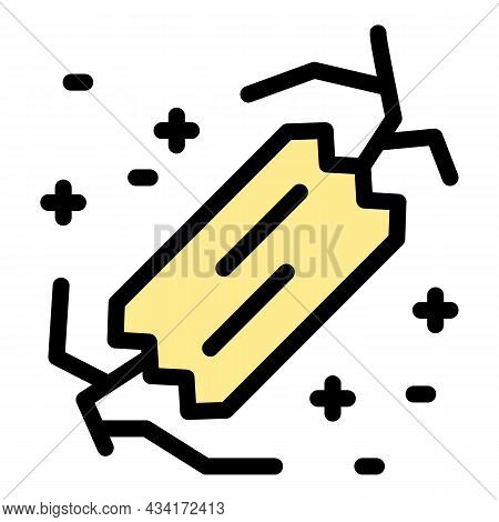 Crack Is Sealed With Tape Icon. Outline Crack Is Sealed With Tape Vector Icon Color Flat Isolated