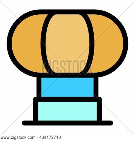 Fan And Vent Duct Icon. Outline Fan And Vent Duct Vector Icon Color Flat Isolated