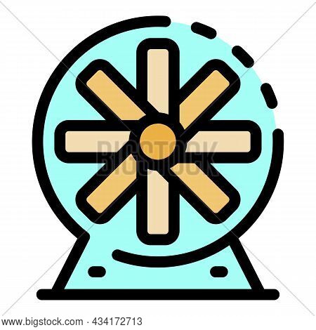 Industrial Fan Icon. Outline Industrial Fan Vector Icon Color Flat Isolated